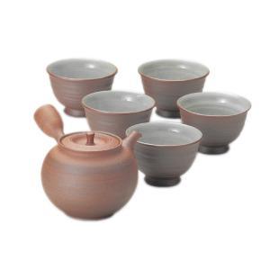 常滑焼 茶器セット 3-179 北條 20号焼〆丸形茶器揃 360ml 3〜4杯用 細 ささめ 木箱入り プレゼント ギフト ラッピング対応|kintouen