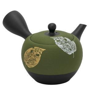 常滑焼 急須 9-145 昭萠 17号 緑丸ノタ木の葉急須 300ml セラメッシュ 煎茶用 日本製 箱入り T1528 kintouen
