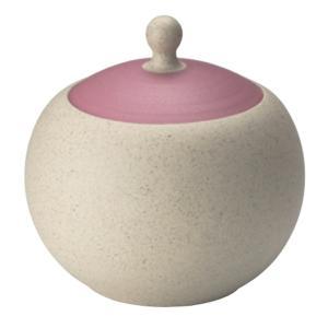 [在庫限り]常滑焼 コンテナポット 0-199 人水 白ゴマ丸蓋ピンク小物入れ 280ml|kintouen