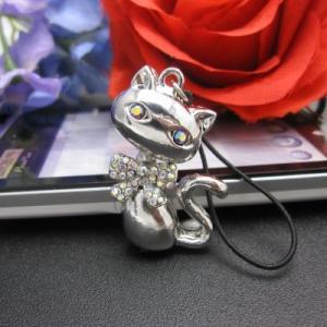 まったりネコといつでも一緒 ラインストーンつき おすましキャット携帯ストラップ/シルバー スマホ アクセサリー スマートフォン アクセサリー 携帯 ストラップ|kintsu