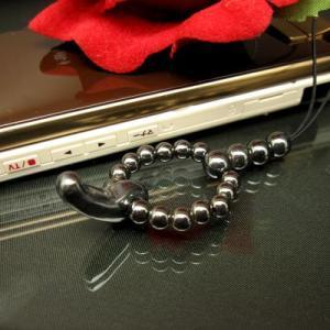 天然石勾玉 パワーストーン 携帯ストラップ/ヘマタイト スマホ アクセサリー 携帯 ストラップ|kintsu