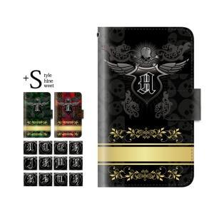 スマホケース iPhone7 ケース 手帳型 スカルイニシャル 骸骨 ドクロ カバー