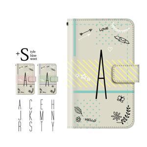 手帳型ケース iPod TOUCH 7 6 5 / イニシャル 頭文字 イラスト ドット for i...