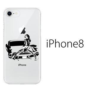 iPhone8 ケース アイフォン8 ソフト ケース TPU カバー スマホケース アップルマーク/ アメ車ガール クリア kintsu