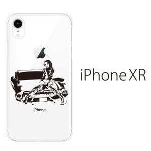 スマホケース iphone xr ケース スマホカバー 携帯ケース アイフォンxr ハード カバー アップルマーク アメ車ガール クリア|kintsu