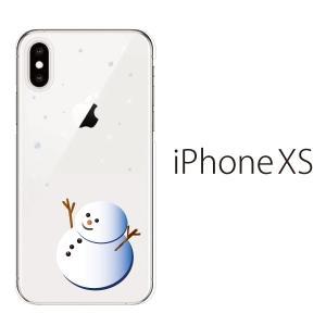 スマホケース iphonexs ケース スマホカバー 携帯ケース アイフォンxs ハード カバー 雪だるま クリア|kintsu