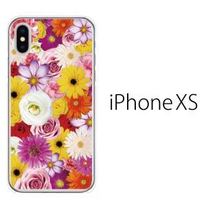スマホケース iphonexs ケース スマホカバー 携帯ケース アイフォンxs ハード カバー フルフラワー 花がいっぱい|kintsu