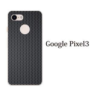 スマホケース ハードケース google pixel 3 クリアケース ケース スマホカバー おしゃれ カバー ブラック メタル 鉄の格子模様|kintsu