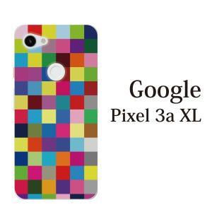 スマホケース ハードケース google Pixel 3a xl クリアケース ケース スマホカバー おしゃれ カバー  カラフルチェッカー ブロック|kintsu