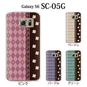 ギャラクシー S6 ケース SC-05G GalaxyS6 カバー / ハーリキン・チェックと四葉 クローバー (ギャラクシーS6/SC05G/ドコモ)|kintsu