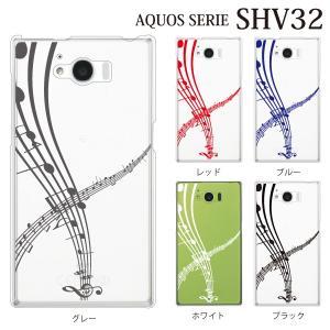 AQUOS SERIE SHV32 ケース 音符 楽譜 五線譜 ピアノ|kintsu