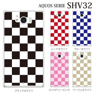 AQUOS SERIE SHV32 ケース チェッカーフラッグ|kintsu