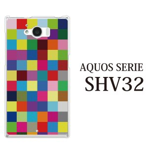AQUOS SERIE SHV32 ケース カラフルチェッカー ブロック|kintsu