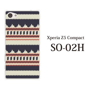 Xperia Z5 Compact SO-02H so02h ケース カバー スマホケース スマホカバー ニット風 デザイン TYPE1|kintsu
