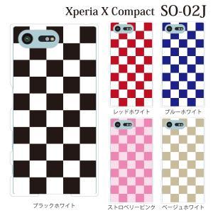 スマホケース SO-02J Xperia X Compact so-02j ケース カバー チェッカーフラッグ|kintsu