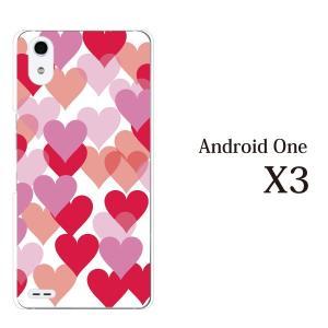 スマホケース ワイモバイルスマホカバー アンドロイドワンx3 ハードケース androidone ハートがたくさん♪ハートフル|kintsu
