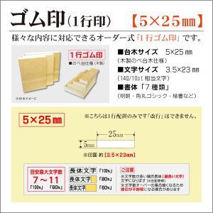 「5×25mm」オーダーゴム印 一行 台木5mm 文字約10pt 1行はんこ 氏名 事務 科目 住所 学校 kippo