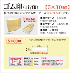 「5×30mm」オーダーゴム印 一行 台木5mm 文字約10pt 1行はんこ 氏名 事務 科目 住所 学校 kippo