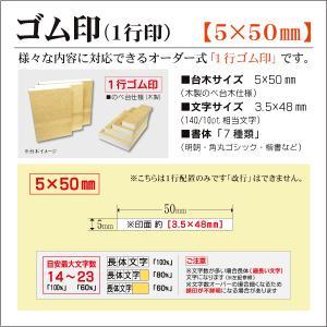 「5×50mm」オーダーゴム印 一行 台木5mm 文字約10pt 1行はんこ 氏名 事務 科目 住所 学校 kippo