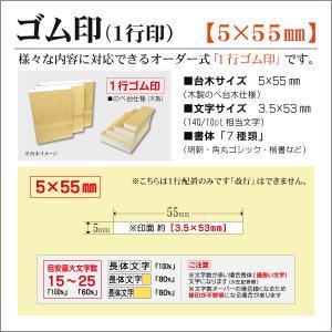 「5×55mm」オーダーゴム印 一行 台木5mm 文字約10pt 1行はんこ 氏名 事務 科目 住所 学校 kippo