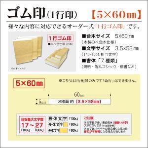 「5×60mm」オーダーゴム印 一行 台木5mm 文字約10pt 1行はんこ 氏名 事務 科目 住所 学校 kippo