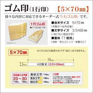 「5×70mm」オーダーゴム印 一行 台木5mm 文字約10pt 1行はんこ 氏名 事務 科目 住所 学校 kippo