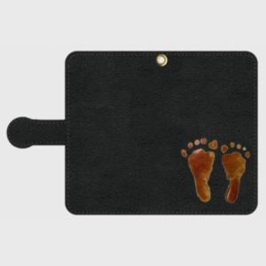 iPhone Android 手帳型 スマホケース オーダーメイド 黒革 M Sサイズ 子供の絵手足型 チームロゴ ペット 写真 オリジナルデザイン|kira-bsmile