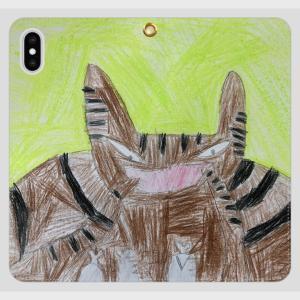 iPhoneXSMAX スマホケース オーダーメイド 手帳型 帯無し 子供の絵 チームロゴ ペット 写真 オリジナルデザイン kira-bsmile