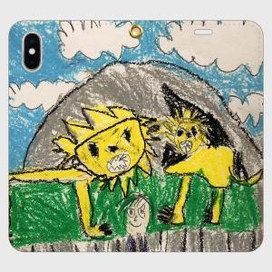 iPhoneX XS 手帳型 スマホケース オーダーメイド 帯無し 子供の絵 チームロゴ ペット 写真 オリジナルデザイン kira-bsmile