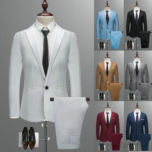 商品名:メンズスーツセット ジャケット+パンツ スーツ2点セット 大きいサイズ ビジネス フォーマル...