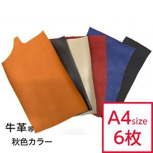 革ハギレ(大)秋色カラーアソートセット A4サイズ程度の約6枚程度です。 すべて別の色でご用意させて...