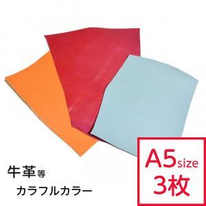 カラフルな革ハギレ(中)カラーアソートセット A5サイズ程度の約3枚です。 すべて別の色でご用意させ...