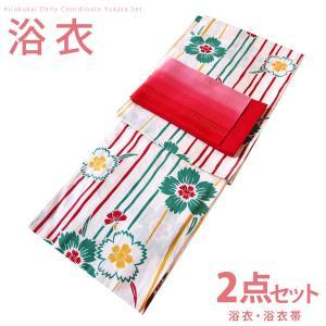 レディース 古典柄 浴衣 2点 セット Fサイズ よろけ縞になでしこ(生成り×緑) 赤色のぼかし帯 [0067] コーディネート 帯|kirakukai