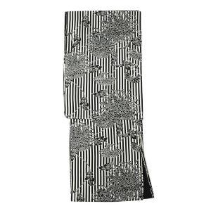 新作 レディース 洗える着物 袷 着物 モダン デザインシリーズ 菊ストライプ (白 黒) 八掛:ブラック M/Lサイズ お仕立て上がり 女性 婦人 女物 小紋|kirakukai