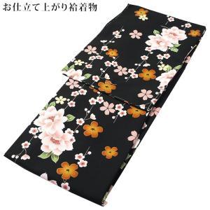 レディース 洗える着物 袷 着物 モダン デザイン シリーズ 大きな八重桜と桜と梅(黒×ピンク) M/Lサイズ お仕立て上がり 小紋 kirakukai