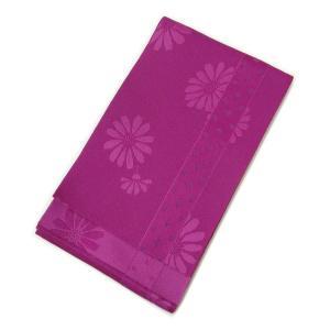 訳あり 浴衣帯 縞に菱形と菊(赤紫) アウトレット OUTLET 半帯 半巾帯 浴衣 帯 単衣帯 ゆかた レディース kirakukai