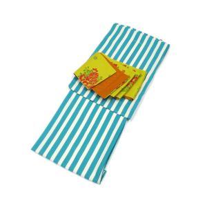 レディース 洗える着物 プレタ 袷 着物 2点 セット Mサイズ ロンドンストライプ 二紋体 半幅帯 コーディネート 帯|kirakukai