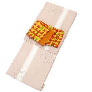 レディース 洗える着物 プレタ 袷 着物 2点 セット Mサイズ たてぼかし 墨絵調 花柄(ピンク) 二紋体半幅帯 コーディネート 帯|kirakukai