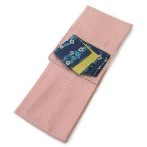 レディース 洗える着物 プレタ 袷 着物 2点 セット Lサイズ シンプルドット(ピンク) 二紋体半幅帯 セット コーディネート|kirakukai