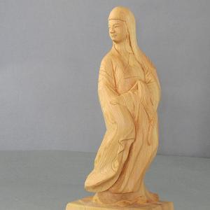 木彫作家・昌山の作品・女達磨(だるま)置物(桧)|kirakuya-yshop
