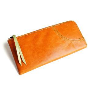 [パッカパッカ] pacca pacca 日本製 本革 馬革 レディース 薄型 長財布 L字 ファスナー ジッパー 薄い ナチュラル カラフル (オレンジ) kirameki-syooten