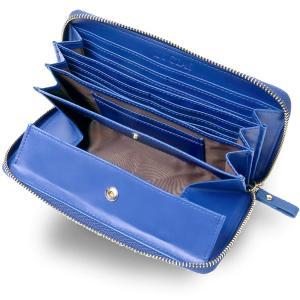 Morina 牛革 長財布 ラウンドファスナー ギャルソンウォレット 大きく開く 小銭入れ メンズ レディース (ブルー) kirameki-syooten