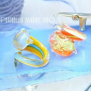 硝子のイルカ ドルフィンリング ヴィンテージ 指輪 ヴェネツィアングラス イタリア製 アクセサリー アンティーク イタリア ヨーロッパ|kirara-s