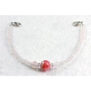 天然石羽織紐兼ブレスレット インカローズ×ローズクォーツ|kirari-ishi