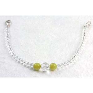 天然石羽織紐兼ブレスレット 水晶×オリーブジェイド|kirari-ishi