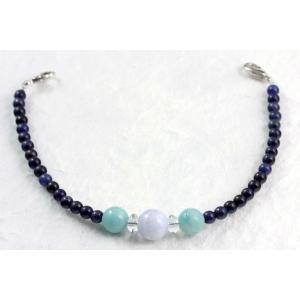 天然石羽織紐兼ブレスレット ブルーレース×アマゾナイト×ソーダライト|kirari-ishi