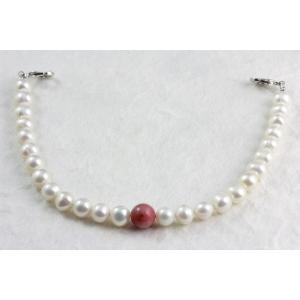 天然石羽織紐兼ブレスレット ロードナイト×淡水パール|kirari-ishi