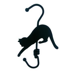 猫のロールフック〈ネコ雑貨〉S字フック ブラック ホワイト 黒猫 白猫|kirei-net