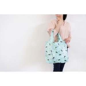 ネコ エコバッグ  中サイズ 猫 和柄  ショッピングエコバッグ くろちく 即納 定形外郵便で送料無料 エメラルドグリーン 白猫|kireinina-re