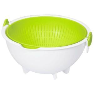 スピンホイール コランダー ラージ  グリーン  キッチン用ざる 米洗い 米研ぎにも  日本製 小久保工業所 キッチンツール  野菜洗い|kireinina-re